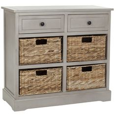 Pine wood storage unit with four pull-out wicker baskets.Product: Console shelfConstruction Material: Pine and wickerColor: Distressed cream and tanFeatures: Four wicker basket drawers and two standard drawersDimensions: H x 29 W x 13 D Drawer Storage Unit, Hallway Storage, Attic Storage, Wood Storage, Storage Baskets, Storage Chest, Basket Drawers, Hat Storage, Storage Cabinets