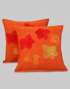 Cotton Embroidered Flower Bed Cushion Cover