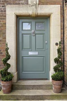 Grey/green front door.