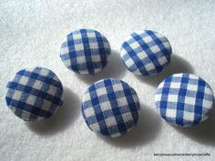 Handmade Fabric Buttons 20mm Metal Shank Button Blue Gingham Buttons  £1.25