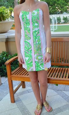 Lilly Pulitzer Angela Strapless Dress in Resort White Seeing Pink Elephants