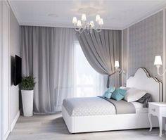 bedroom, grey, room is part of Room decor bedroom - Home Bedroom, Room Decor Bedroom, Modern Bedroom, Living Room Decor, Bedroom Ideas, Gray Bedroom, Grey Room, Bedroom Curtains, Bedroom Images