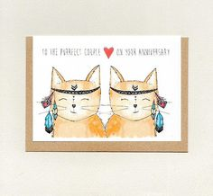 To the PURRFECT COUPLE on your ANNIVERSARY . greeting card . cute cat / cats . anniversary card . custom card . boho . same sex . australia