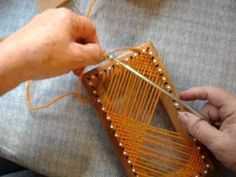 Weaving on a Rectangle Loom : Video Pin Weaving, Card Weaving, Tablet Weaving, Weaving Art, Tapestry Weaving, Loom Weaving, Weaving Textiles, Weaving Patterns, Peg Loom