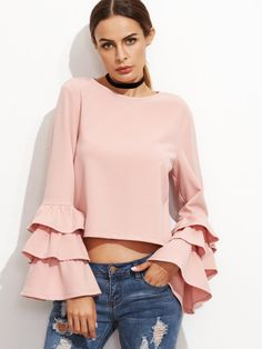 Pink Keyhole Back Layered Bell Sleeve Top