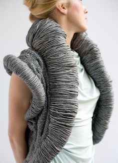Sculptural Fashion textured grey textile fiber bolero