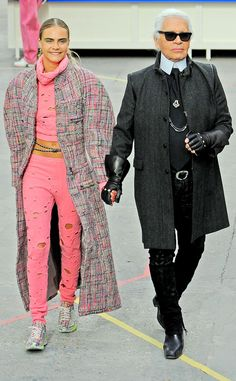 Cara and Karl #masterpice #CHANEL runway show staged in a futuristic supermarket. #parisfashionweek