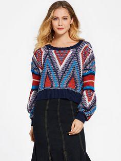 Ericdress Color Block Geometric Pattern Sweater|Pattern:Geometric,Color Block