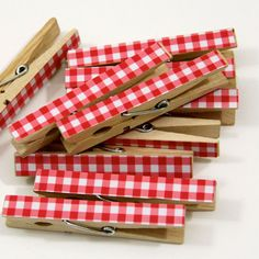 Clothespins. Set of Ten. Red Gingham $10 The Pampered Crown on Etsy - for Farm Party Photo Timeline