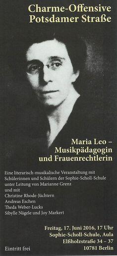 Berlin-Women: Maria Leo, Musikpädagogin und Frauenrechtlerin, Veranstaltung am 17.06.2016