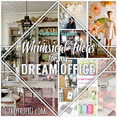 Since creating my brand Gabby FruFru, I've never been able to obtain a creative space to conduct business or create new items to sale.  I don't know how normal it is to sit and fantasize about office décor, but I do it so often I don't realty care how normal it is anymore. lol  Since I'm obviously addicted to Pinterest (obvious to me anyway) I've run across beautiful and whimsical ideas that I would love to see in my soon to be home office/workspace  Www.gabbyfrufru.tumblr.com