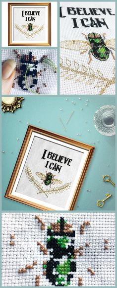 A vintage take on funny cross stitch patterns, I Believe I Can Fly