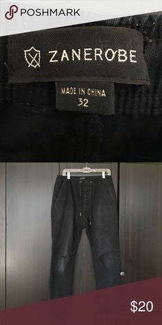 Men's Zanerobe joggers - black Men's Zanerobe joggers size 32 - draw strong waist - faded knee otherwise in good used condition - Very soft feel Zanerobe Pants Sweatpants & Joggers