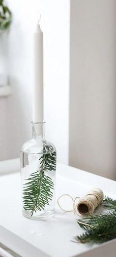 bottled fir candle holder styleminimalism scandinavian christmas decorations scandinavian candles simple christmas