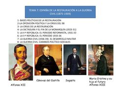 Tema 7 España de la restauracion a la Guerra Civil