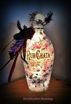 Unique Painted RumChata Bottle Light by BottlesBeGlowing on Etsy