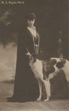 Königin Marie von Rumänien, Queen of Romania, with a borzoi Romanian Royal Family, Borzoi Dog, Whippets, Old Time Photos, Russian Wolfhound, Greyhound Art, Afghan Hound, Lurcher, Vintage Dog