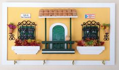 Key rack inspired by the architecture of Old San Juan.  More sizes and colors!