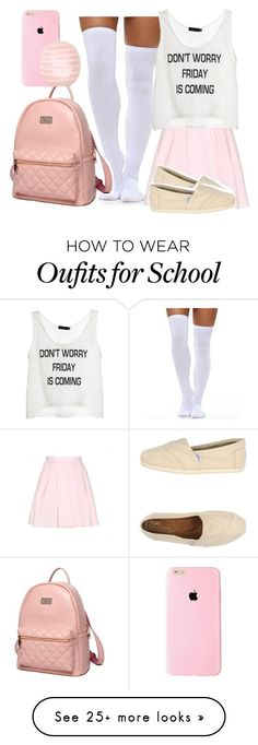 """A girly school day"" by jasminetobby on Polyvore featuring Carven, TOMS, Princess Carousel, Topshop, women's clothing, women's fashion, women, female, woman and misses"
