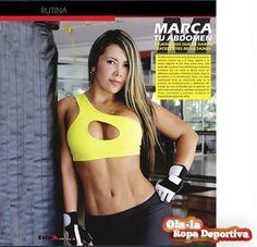 Con prendas deportivas http://www.ola-laropadeportiva.com/ y una buena rutina de ejercicios podrás estar siempre en forma como nuestra hermosa modelo y clienta, Mafe Achury, que posa en una de las páginas interiores de la revista EstarOK… !!!  Su constancia y disciplina son nuestro ejemplo a seguir !!!  #Abdomen #Ejercicios #Tonificar #EstarOK #Cali #Colombia