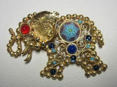 Vintage Jewelry Rhinestone Elephant Pin Juliana Book Piece Hard to Find   eBay