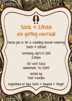 Camo Wedding Shower Invitation by ExpectedBlessings on Etsy, $12.00