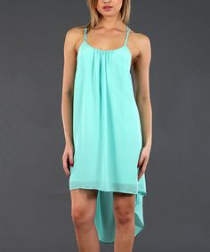Take+a+look+at+the+Double+Zero+Mint+Sleeveless+Hi-Low+Dress+on+#zulily+today!
