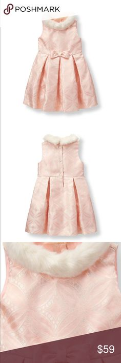 NWT Janie & Jack Pleated Jacquard Petal Pink Dress Pastel jacquard in a pretty geo motif is perfectly fancy. The pleated silhouette is detailed with a faux-fur collar and waist bow accent.  Retail: $99.00 vs. Listing: $59.00  New with Tags 100% Polyester Jacquard Fully Lined With Tulle Underlayer Bloomer Included  Pearlized Back Buttons  Thank you for looking and feel free to check out my other listings as well. Janie and Jack Dresses