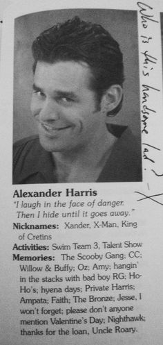 Xander yearbook (Buffy the Vampire Slayer)