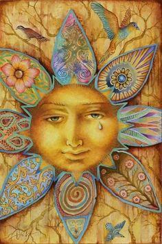 Reminds me of Summer Solstice - Tarot Artwork by Artist Holly Sierra Sun Moon Stars, My Sun And Stars, Art Soleil, Arte Latina, Sun Art, Summer Solstice, Happy Solstice, Mellow Yellow, Yellow Sun