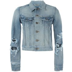 Saint Laurent Distressed Denim Jacket (€1.330) ❤ liked on Polyvore featuring outerwear, jackets, blue, yves saint laurent jacket, collar jacket, blue jackets, long sleeve jacket and straight jacket