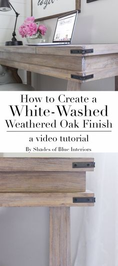 Creating a White-Washed Weathered Oak Finish- Video Tutorial - Shades of Blue Interiors How to achieve a white-washed weathered oak finish on plain smooth pine by creating a raised grain, staining and sealing, and then using white wax. Furniture Projects, Furniture Makeover, Painting Oak Furniture, Furniture Stores, Furniture Websites, Furniture Refinishing, Painting Cabinets, Furniture Removal, Br House