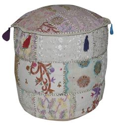 OTM00346 Embroidery Work Design Cotton Round Ottoman Cover For Home Décor 18 x 18 x 14 Inches White Color
