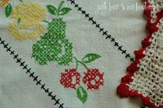 Cheery Fruit-Themed Vintage Tablecloth: by JustBeenMeBoutique
