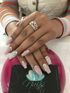 Acrylic nails, swavroski nails, nude nails, nails art