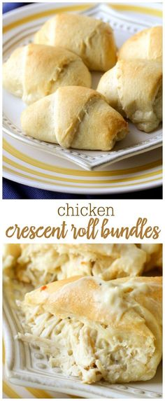 Shredded chicken mixed with cream cheese, Italian dressing mix, and cream of chicken rolled into buttery crescent dough! These flavorful Chicken Crescent Roll Bundles have become a family fave. #crescentrollchickenbundles #crescentrolls #chicken #crescentrollbundles #crescentrollups
