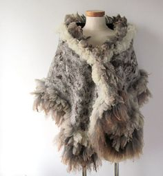 Felted scarf stole brown grey raw wool curly by galafilc, $167.00