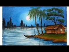 How to paint a scenery of moonlit night with oil pastels step by step Scenery Paintings, Oil Pastel Paintings, Oil Pastel Art, Oil Pastel Drawings, Oil Pastels, Landscape Drawings, Cool Landscapes, Landscape Paintings, Oil Pastel Landscape