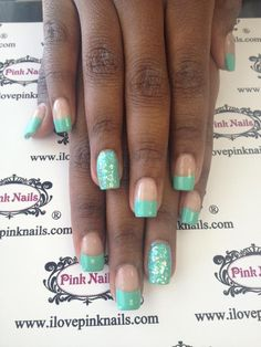 Turquoise French and Glitter Nails