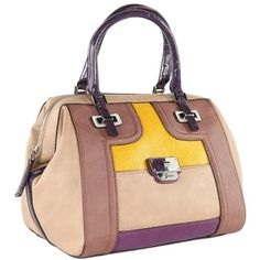 Guess Women's Sheena Purple Box Satchel Bag ($230) ❤ liked on Polyvore