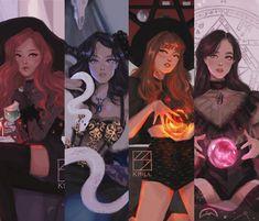 Character Art, Character Design, Blackpink Poster, Anime Lindo, Blackpink Memes, Kpop Drawings, Witch Art, Black Pink Kpop, Pink Art