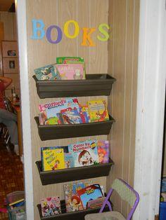 Book Shelves using flower boxes