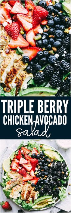 Triple Berry Chicken Avocado Salad with a Creamy Lemon Poppyseed Dressing is my all time favorite salad! Tender and juicy pan seared chicken with romaine lettuce, avocados, strawberries, blackberries, and blueberries. Topped with pistachio nuts, feta cheese and drizzled in the best creamy dressing!