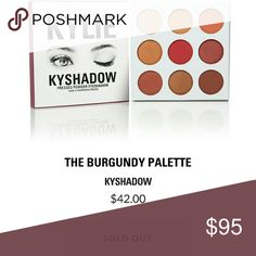 """NEW Kylie Kyshadow Burgundy Palette Kylie Cosmetics new kyshadow """"Burgundy Palette"""". Released on 10/20/16   You are purchasing 1 Kyshadow Burgundy Palette. I have it on hand and will ship within 1 business day.  Purchased 3 so the first person to buy will receive the black box and note card :) Kylie Cosmetics Makeup Eyeshadow"""