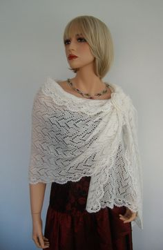 Hand Knit Ivory Or White Colour Mohair Bridal Wedding Shawl Wrap