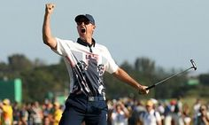 Justin Rose celebrates after securing Olympic gold in the men's golf tournament