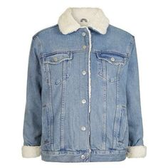 TopShop Moto Oversized Western Denim Borg Jacket (4.990 RUB) ❤ liked on Polyvore featuring outerwear, jackets, oversized denim jacket, denim jacket, blue jackets, oversized jackets and topshop jackets