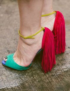 Bright & colorful fringe heels. // The Best Street Style Inspiration From NYFW: (http://www.racked.com/2015/9/11/9309889/nyfw-street-style#4829912)