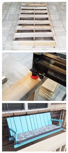 Cheapest House on the Block Building a DIY Porch Swing Using Pallet Wood, Very Easy, Looks Great Lan Pallet Wood, Wood Pallets, Pallet Porch, Porch Swing, Front Porch, Pintura Exterior, Project Steps, Porch Flooring, Cheap Houses