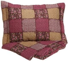 Cathay Home Fashions Luxury Silky Soft Rose and Bows Mini Quilt Set :           Luxury silky soft microfiber Roses and Bows quilt set is a classic patchwork design in fresh patterns and updated colors ideal for all seasons. Heirloom quality details include vermicelli stitching and fabric bound edges. Fashioned in rich burgundy, pink and gold tones, th...